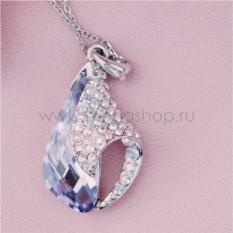 Кулон с фиолетовым кристаллом Сваровски «Объятия»
