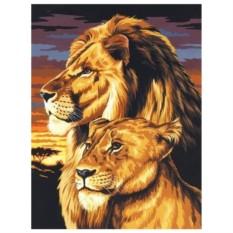 Картина-раскраска по номерам на холсте Пара львов