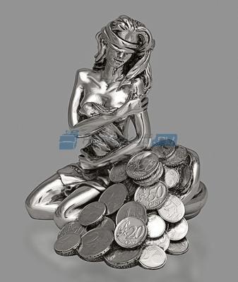 Статуэтка Богиня удачи с рогом изобилия, посеребрение