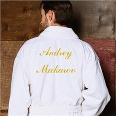 Мужской махровый халат с именной вышивкой Премиум (велюр)