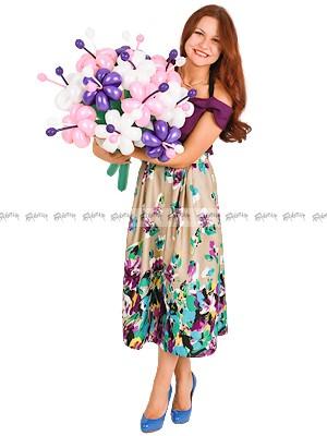 Розово-сиреневые лилии большой букет из шаров - 11 штук