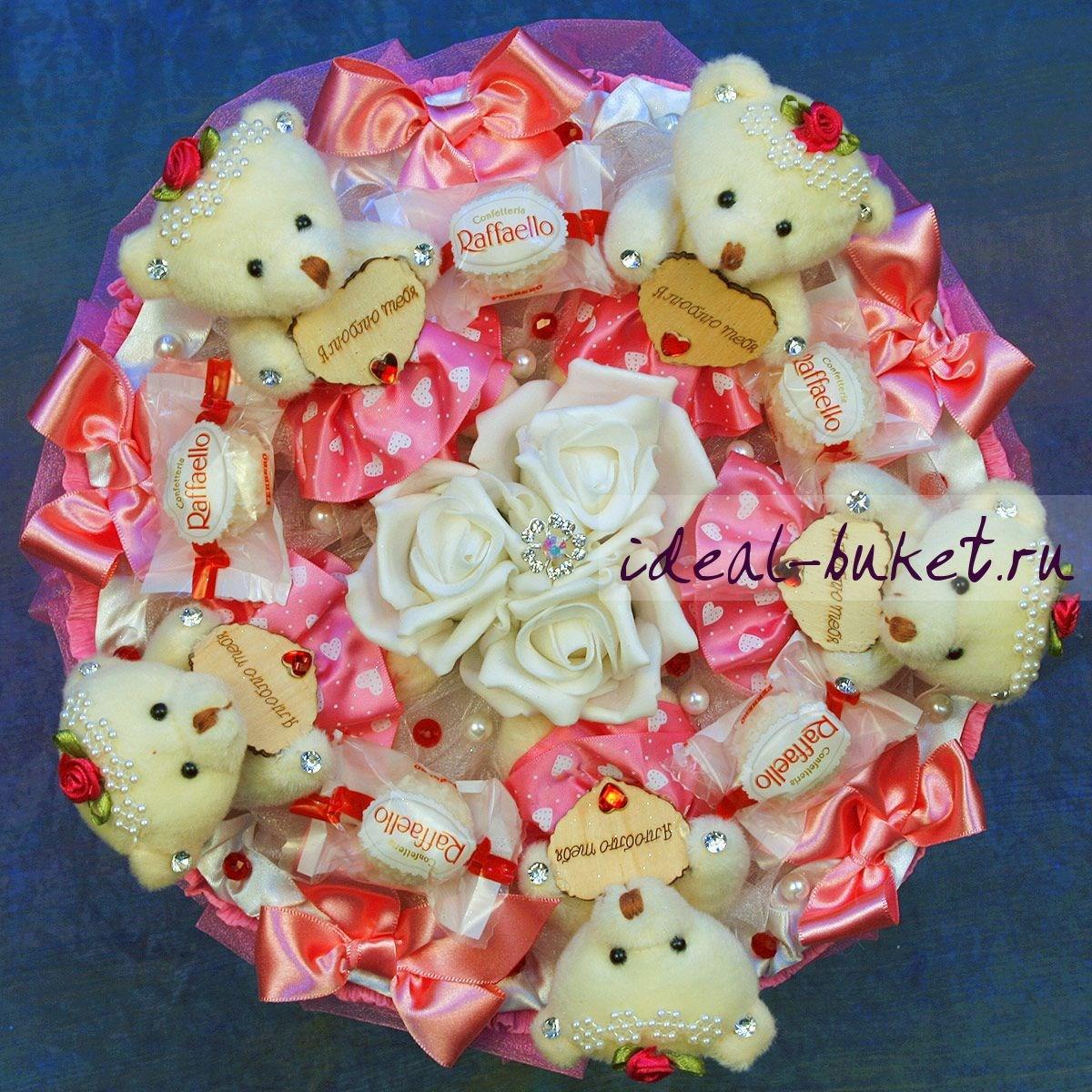 Букет из мишек с конфетами своими руками 723