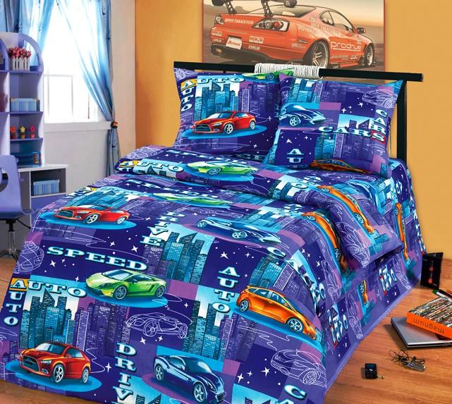 Темно-фиолетовое детское постельное белье из бязи Cleo