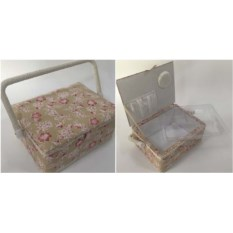 Бежевая шкатулка для рукоделия Сундучок, размер 20х20х11см