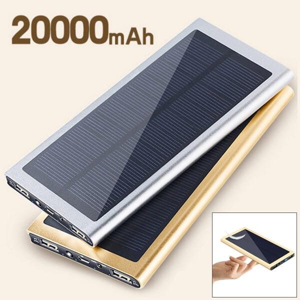 Внешний аккумулятор на солнечной батарее Metal Power Bank