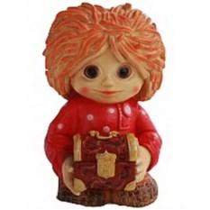 Декоративная садовая фигура Нафаня с сундучком в красном