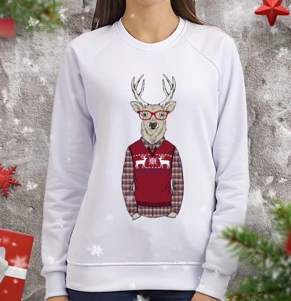 Женский свитшот Олень-хипстер в свитере с оленями
