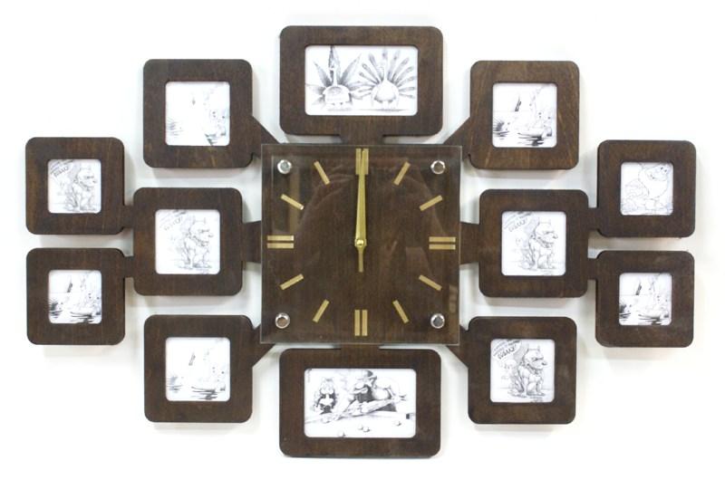 Оригинальные настенные часы фоторамка Моя семья, бук