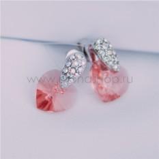 Серьги с розовыми кристаллами Сваровски «Огненное сердце»