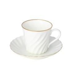 Фарфоровая кофейная чашка с блюдцем Золотой кантик