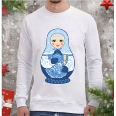 Белый мужской свитшот Матрешка-снегурочка