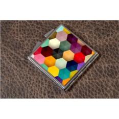 Карманное зеркальце Разноцветный паттерн (белый)