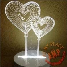 Светодиодный 3D светильник Сердца