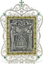 Серебряная настольная икона с образом св. Петра и Февронии