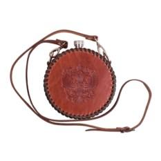 Круглая фляга обтянутая натуральной кожей Герб