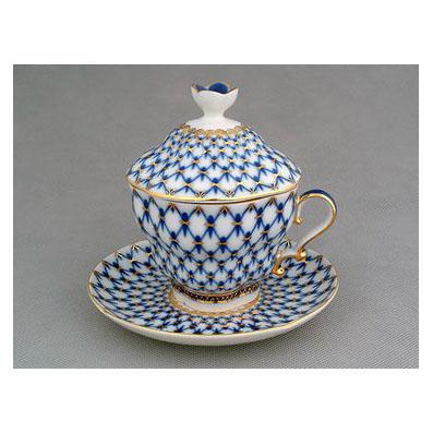 Чашка с крышкой и блюдцем «Кобальтовая сетка»