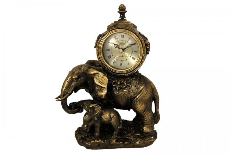 Декоративные кварцевые настольные часы Слоны