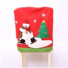 Новогодний чехол на стул «Снеговик на лыжах»