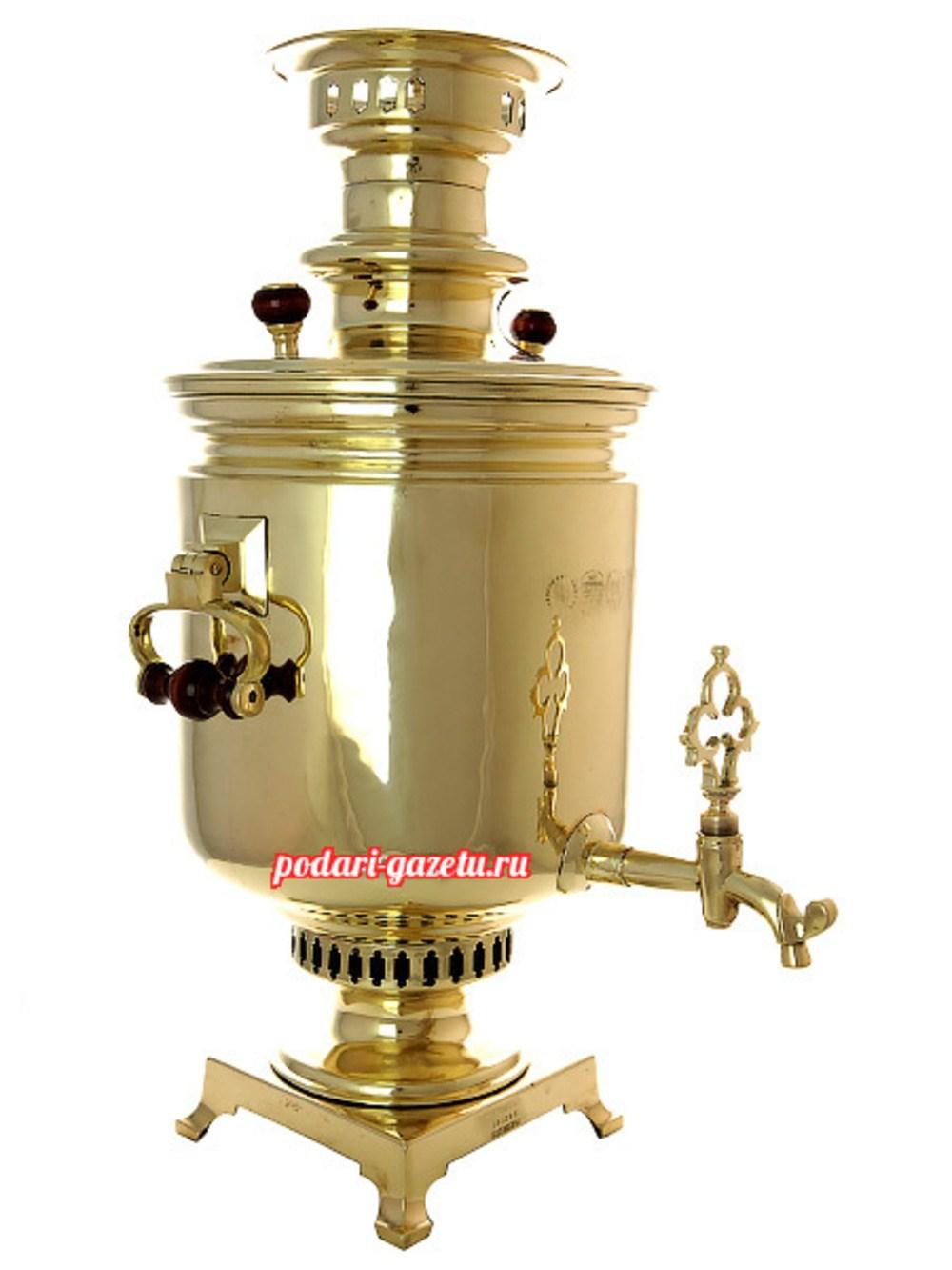 Угольный самовар (жаровой, дровяной) (8 литров) желтый цилиндр