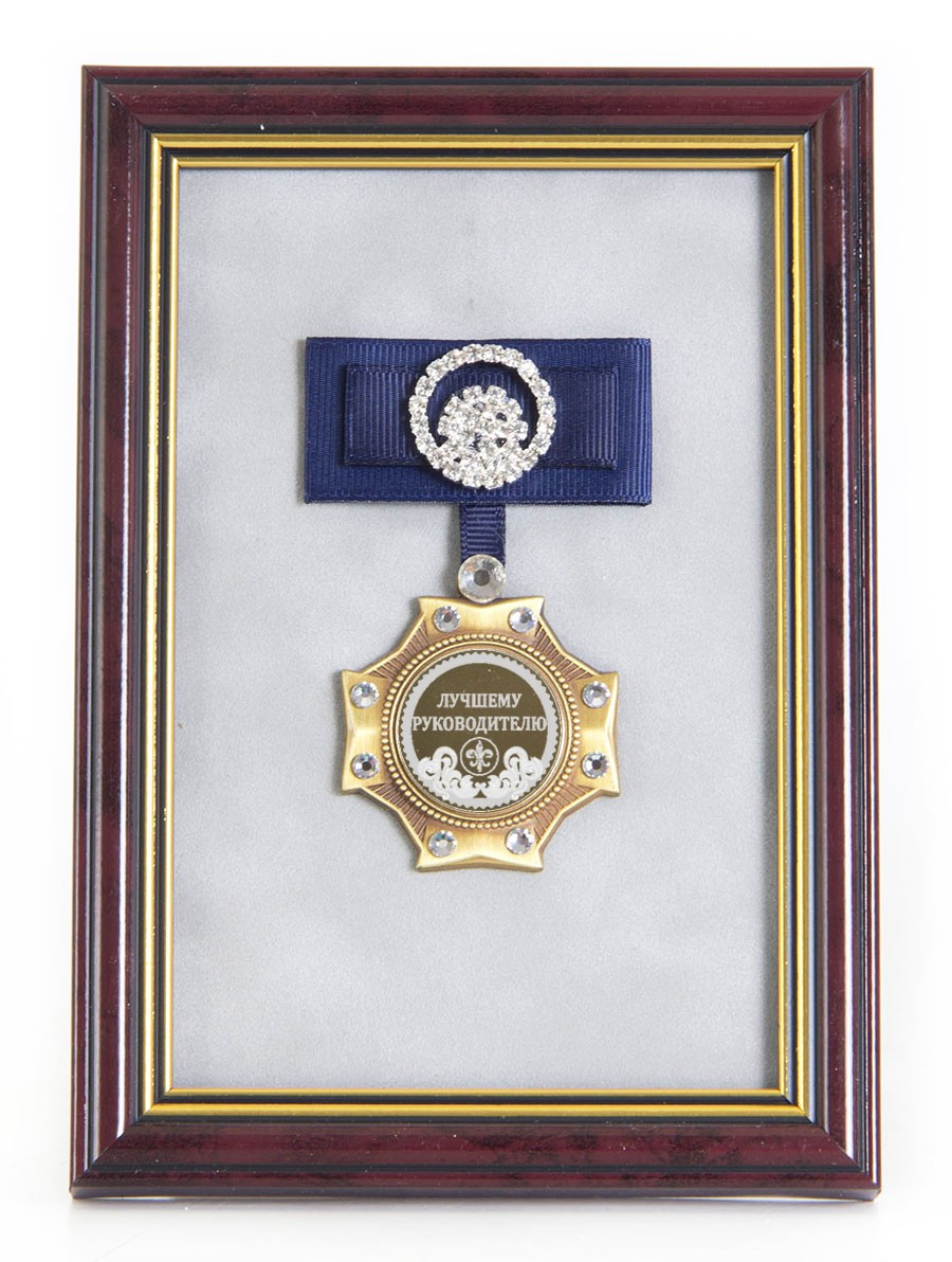 Орден в багете Лучшему руководителю! (синий бант)