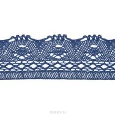 Вязаная тесьма Schaefer, ажурная, синяя (5 м х 8 см)