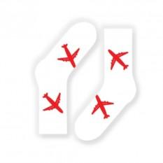 Носки от FlyByGauser Красные самолеты на белом