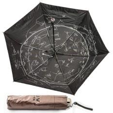 Складной коричневый зонт Звездное небо