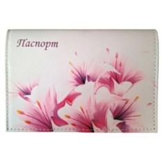Кожаная обложка для паспорта Весенние цветы