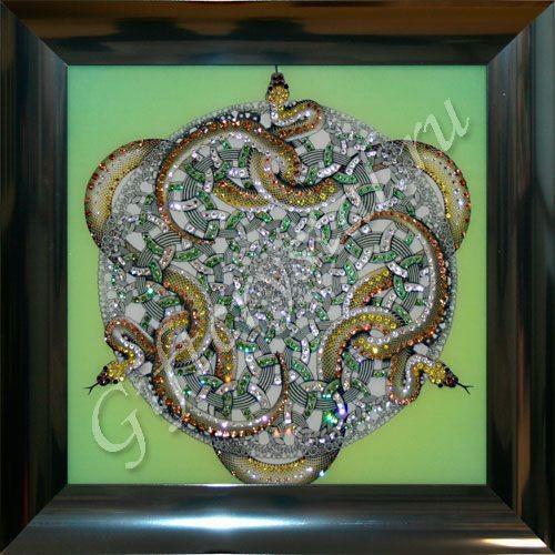 Картина с кристаллами Swarovski Орнамент Змеи