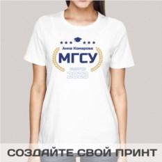 Женская именная футболка Выпускник института 2017