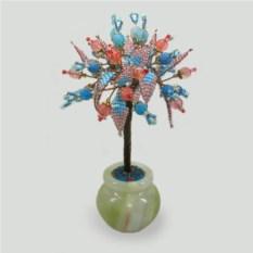 Дерево счастья из розового кварца и голубого агата