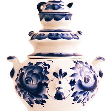 Самовар сувенирный Гжель с заварочным чайником