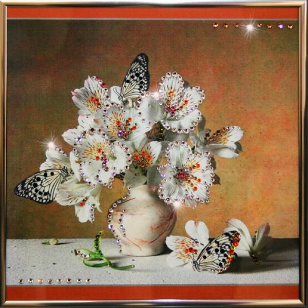 Картина с кристаллами Букет Альстромерий