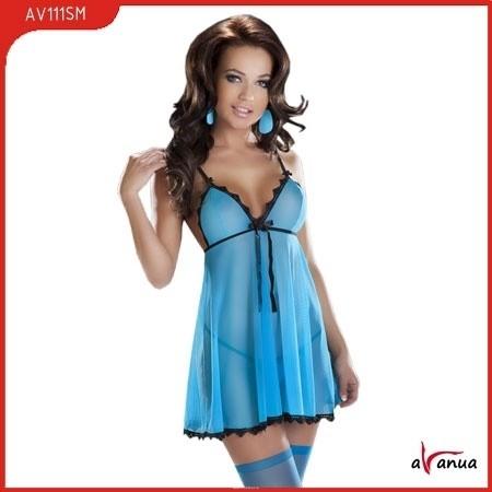 Комплект эротического белья (платье, стринги), голубой