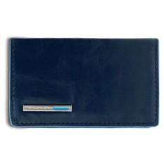Темно-синий кожаный футляр для визиток Piquadro Blue Square