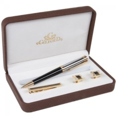 Набор Gilford Ручка, зажим для галстука и запонки