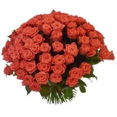 Букет из 101 розы сорта Анна Карина высотой 40 см