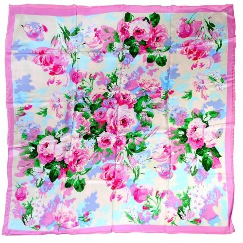 Платок розовый «Розы»