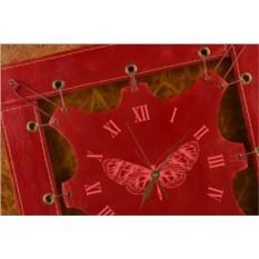 Часы из кожи Бабочка (темно-красный)