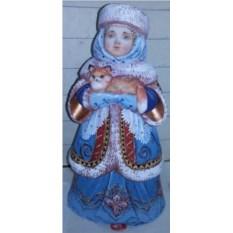 Игрушка из дерева Снегурочка с лисой