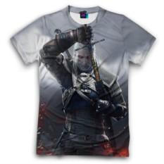 Мужская футболка 3D с полной запечаткой Геральт