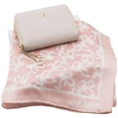 Розовый набор шейный платок и дамское портмоне