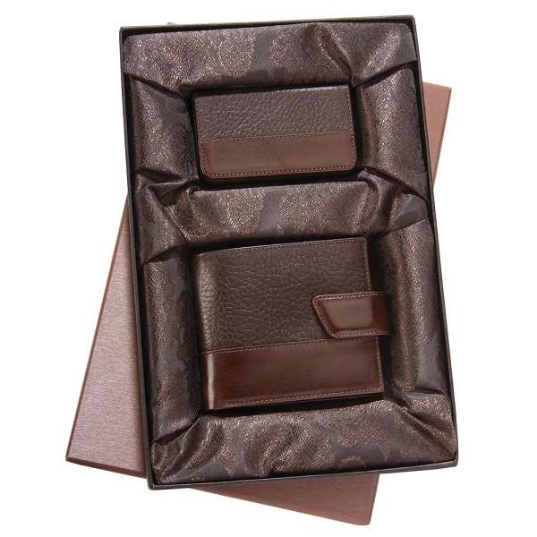 Набор Alvaro: портмоне и футляр для визиток, коричневый