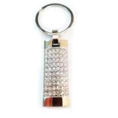 Флешка-брелок для ключей Серебро в стразах