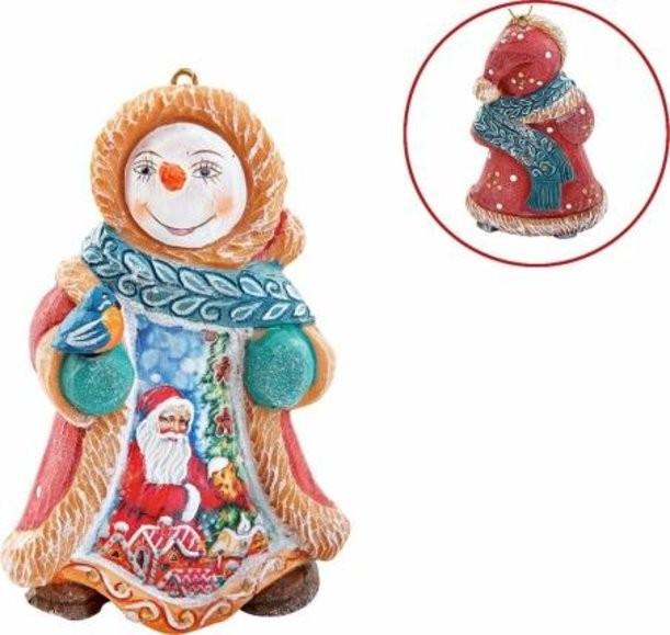 Новогодняя коллекционная игрушка Снеговик