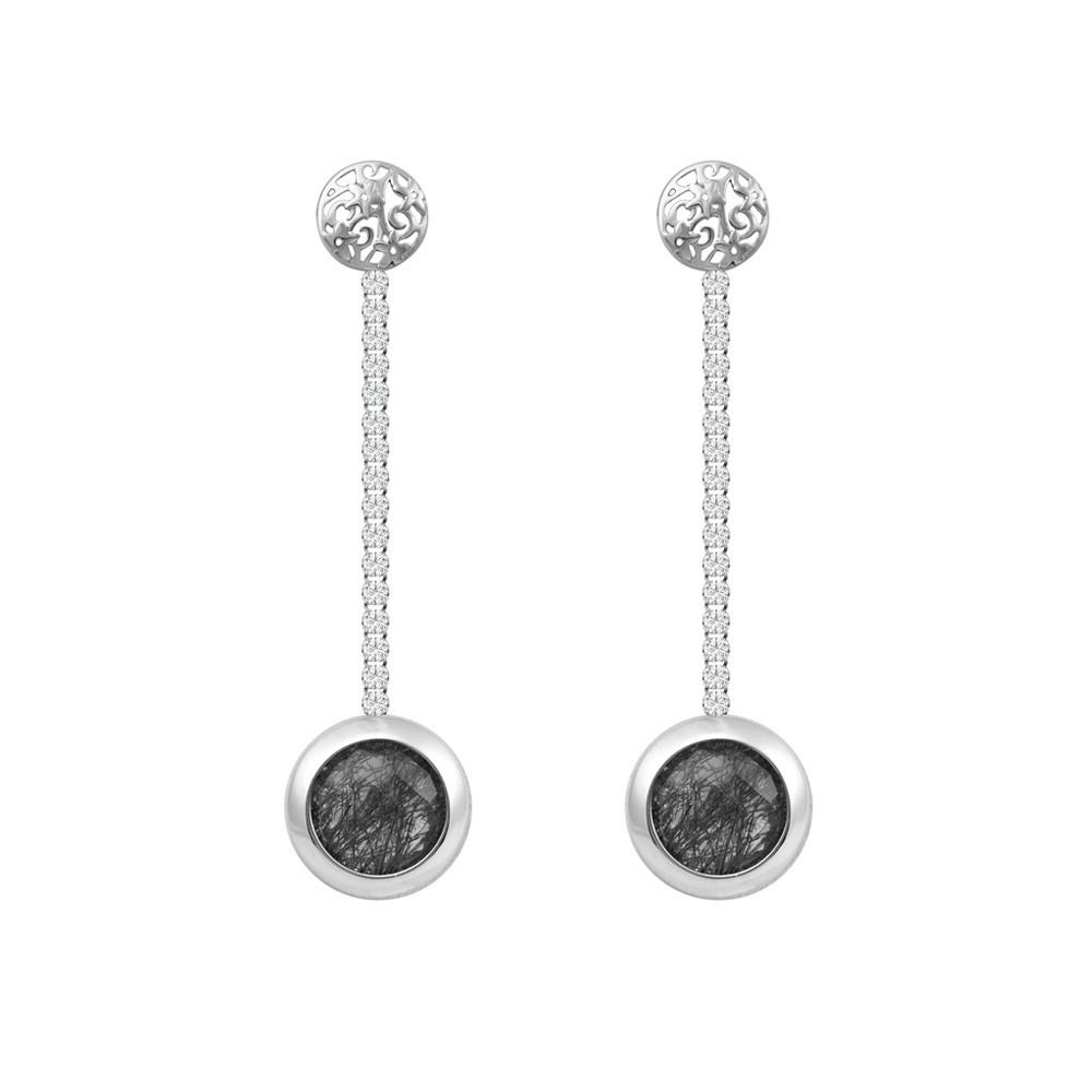 Серебряные висячие серьги с кристаллами Swarovski и кварцем