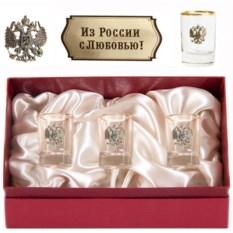 Набор из 3-х стопок Герб с накладкой Из России с любовью!