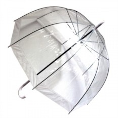Прозрачный зонт с белой окантовкой