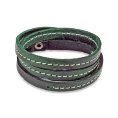 Кожаный браслет Spikes (цвет: темно-зеленый)