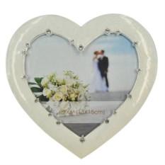 Белая рамка для фото Сердце